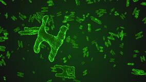 Abstract green virus cells under microscope. Multiplication of bacteria or infection. Scientific background. 3D rendering illustration stock video