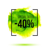 Abstract green watercolor splash with discount 40 percent off sale stock illustration
