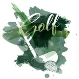Abstract green watercolor splashes with golf equipment silhouettes stock illustration