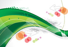 Abstract green wave background with arrow. Vector illustration stock illustration