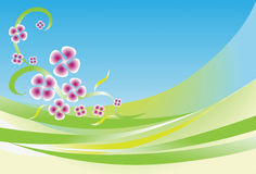 Abstract Green Waves and Flower Background Stock Images