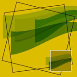 Abstract - green waves on a yellow background. Abstract - translucent green waves on a yellow background with black and white borders Stock Photos