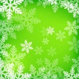 Abstract green and white christmas background. With snowflakes Stock Photography