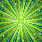 Abstract green and yellow background with rays. Stars and balls Royalty Free Stock Photos