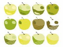 Abstract apples isolated on white background. Abstract green yellow brown apples isolated on white background vector illustration