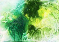 Abstract green and yellow watercolor background Stock Images
