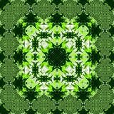 Abstract greenery square pattern background, palm leaves kaleidoscope effect Stock Photo