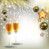 Abstract greeting with Christmas decorations and champagne Stock Image