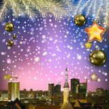 Abstract greeting with Christmas decorations and cityscape Stock Image
