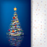 Abstract greeting with Christmas tree on blue. Background Stock Photos