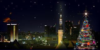 Abstract greeting with christmas tree and cityscape of Tallinn Royalty Free Stock Photography