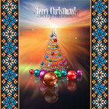 Abstract greeting with Christmas tree and decorati Stock Image