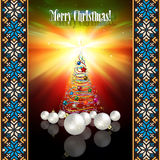 Abstract greeting with Christmas tree and decorati Royalty Free Stock Photography