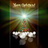 Abstract greeting with Christmas tree and decorati Stock Photo
