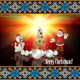 Abstract greeting with Christmas tree and Santa Cl Royalty Free Stock Photo