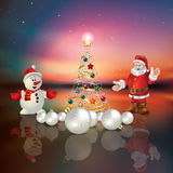 Abstract greeting with Christmas tree and Santa Cl Royalty Free Stock Image