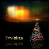 Abstract greeting with Christmas tree and stars Royalty Free Stock Photography