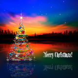 Abstract greeting with Christmas tree and stars Stock Photography