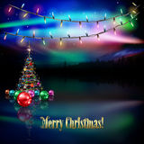 Abstract greeting with Christmas tree and stars Royalty Free Stock Photos