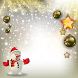 Abstract greeting with snowman and decorations Royalty Free Stock Photography