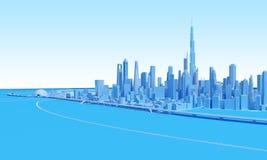 Abstract grensgebied van cityscape in blauwe tonen Stock Illustratie