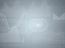 Abstract grey background with graphical charts. And numbers Royalty Free Stock Images