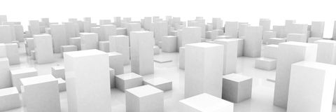 Abstract grey city. On white background Royalty Free Stock Photo