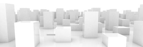 Abstract grey city. On white background Royalty Free Stock Photos