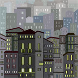 Abstract grey city view in outlines with many houses. And buildings as a single piece at night with lights. Cartoon style. Digital vector image Stock Photo