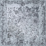Abstract grey floral ornament on silver Stock Photo