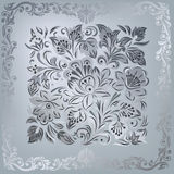 Abstract grey floral ornament on silver Stock Images