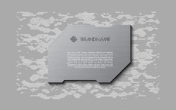 Abstract grey futuristic soft welcome screen. Metal technology plate on chaotic scheme background royalty free illustration