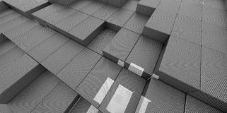 Abstract grey gray metallic background of 3d blocks Stock Photography