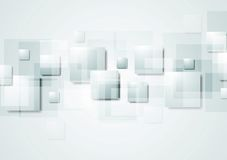 Abstract grey hi-tech background with squares Stock Photography