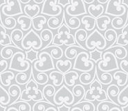 Abstract grey seamless hand-drawn floral pattern. Royalty Free Stock Images