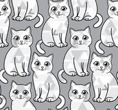 Abstract greyscale funny cats. Vector seamless pattern. EPS8 Royalty Free Stock Photo