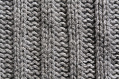 Abstract grijs het breien textuurclose-up Stock Fotografie