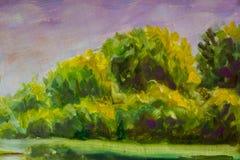 Abstract groen de bomenlandschap van het olieverfschilderijfragment Stock Fotografie