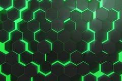 Abstract groen gloeiend patroon, kleurrijke achtergrond van futuristische oppervlakte met zeshoeken het 3d teruggeven Stock Fotografie