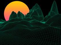 Abstract groen landschap met gebiedzon op horizon futuristisch Royalty-vrije Illustratie