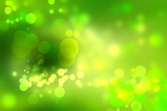 Abstract groen licht en gele de zomer bokeh achtergrond Stock Fotografie