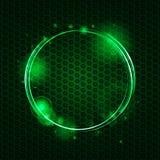 Abstract groen netwerk en gloeiende cirkelachtergrond Stock Fotografie