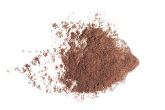 Abstract ground coffee pile isolated on white background. Royalty Free Stock Images