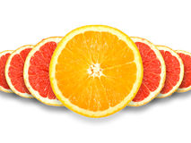 Abstract group of cross citrus fruits Stock Photos