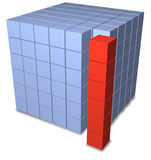 Abstract group cubes as separate stack. A red stack of six abstract 3D boxes separate from a blue matrix block of data cubes Royalty Free Stock Images