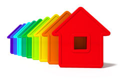 Abstract group of houses. Of different colors on a white background Stock Illustration