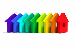 Abstract group of houses. Of different colors on a white background Royalty Free Illustration