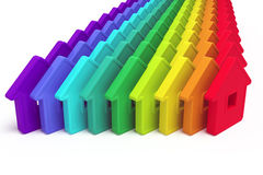 Abstract group of houses. Of different colors on a white background Vector Illustration