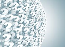 Abstract group of question marks. 3d render stock illustration