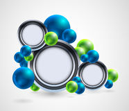 Abstract group of spheres with signs, buttons Royalty Free Stock Image